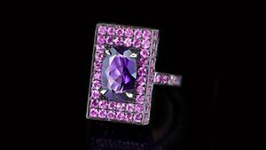 Canturi Captivo ring with amethyst and pink sapphire in 18kt white gold