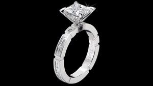 Canturi Regina enagagement ring with baguette diamonds
