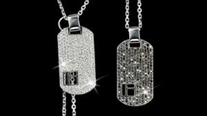 Canturi Cubism pavé white and black full diamond dog tags and chain in 18ct white gold
