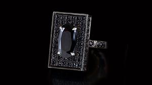 Canturi Captivo ring with black sapphire in 18ct white gold