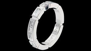 Canturi Regina Wedding band with baguette and black sapphire