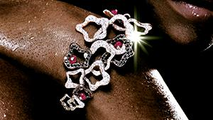 Canturi Island Luxe bracelet in 18ct white gold with pink tourmaline and black diamonds.