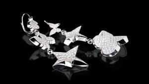 Canturi Odyssey 3 drop multi-shape earrings with diamonds in 18kt white gold