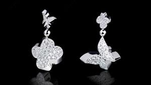 Canturi Odyssey multi-shape drop earrings with diamonds in 18kt white gold
