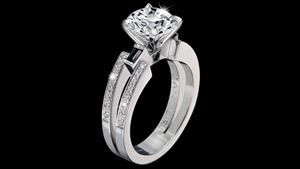 Canturi Metropolis diamond engagement ring with dream setting and black sapphire detail in 18ct white gold, also available in yellow and pink gold. Available in round brilliant cut diamond (shown) or a variety of diamond shapes.