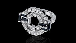 Canturi Regina diamond double link ring with diamonds and Australian black sapphires in 18ct white gold.