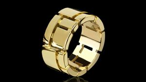 Canturi Cubism 9mm ring in 18ct yellow gold.