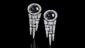 Canturi Cubism Pavé Vintage inspired diamond drop earrings featuring Cabochon cut Australian black sapphires and rose cut diamonds in 18ct white gold.