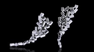 Cubism Abstract earrings with diamonds and Australian black sapphires in 18ct white gold.
