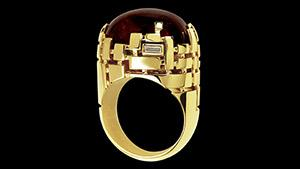 Canturi Cubism ring with cabochon garnet stone centre in 18ct yellow gold