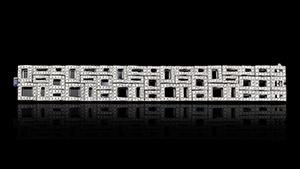 Canturi Cubism Pavé cuff with diamonds and black sapphire in 18kt white gold