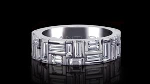 Canturi Cubism medium ring featuring baguette and carré cut diamonds in 18ct white gold, also available in yellow and pink gold