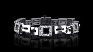Canturi Cubism Geometric alternating diamond set bracelet in 18ct white gold, also available in yellow and pink gold.