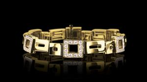Canturi Geometric alternating diamond set bracelet in 18ct yellow gold, also available in white and pink gold.