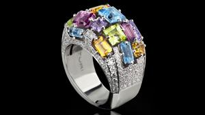 Canturi Cubism domed colorburst gemstone ring with pavé set diamonds in 18ct white gold, also available in yellow and pink gold.