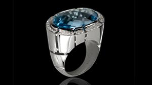 Canturi Cubism Pavé cocktail ring featuring a blue topaz gemstone and diamonds in 18kt white gold.