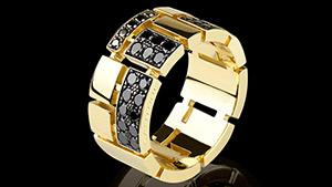 Canturi Cubism pavé half alternating black diamond set ring in 18kt yellow gold, also available in white or pink gold