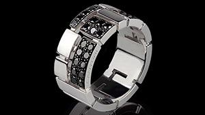 Canturi Cubism pavé half alternating black diamond set ring in 18ct white gold, also available in yellow or pink gold