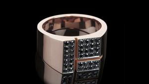Cubism Pavé Signet ring with black diamonds in 18ct pink gold.  Also available in 18ct white or yellow gold.