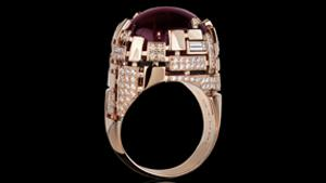 Canturi Cubism pavé alternate set diamond and pink tourmaline gemstone cocktail ring in 18ct pink gold.