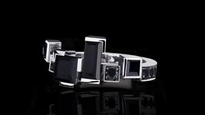 Canturi Cubism Radiant band with Australian black sapphires in 18ct white gold, also available in yellow gold or pink gold.