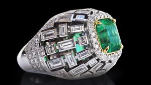 Canturi Cubism domed ring featuring a 3ct square columbian emerald gemstone, highlighted by baguette, carré cut and pavé set diamonds in 18ct white gold.