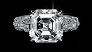 Canturi Bamboo diamond engagement ring with a square emerald cut diamond in 18ct white gold