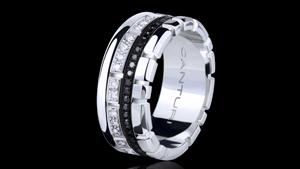 Canturi Eternal multi-layer white and black diamond ring in 18ct white gold. Also available in 18ct pink or yellow gold.
