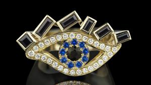 Cubism Eye ring with Australian black sapphires, diamonds and spinel gemstones in 18kt yellow gold.
