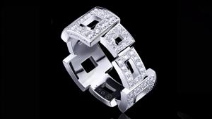 Canturi Geometric full diamond ring in 18ct white gold.  Also available in 18ct pink or yellow gold.