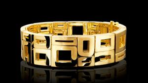 Canturi Geometric 2 row cuff in 18ct polished yellow gold.