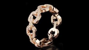 Canturi Link diamond ring in 18ct pink gold.