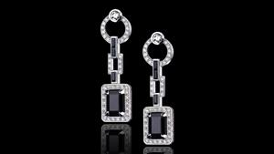 Canturi Metropolis drop earrings featuring diamonds and Australian black sapphires in 18ct white gold.