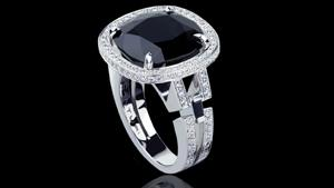 Canturi Metropolis cushion cut Australian black sapphire and diamond ring in 18kt white gold. Also available in a varity of gemstone shapes and sizes