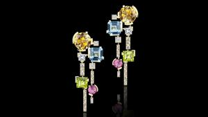 Canturi Cubism Colourburst diamond earrings featuring citrine, blue topaz, pink tourmaline and peridot gemstones in 18ct yellow gold.