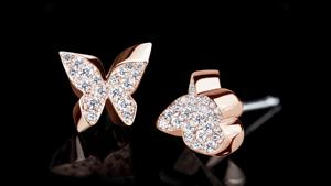 Canturi Odyssey full diamond Butterfly and Flower earrings in 18kt pink gold, also available in white or yellow gold.