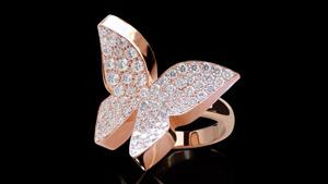 Canturi Odyssey butterfly ring with full pavé diamonds in 18kt pink gold