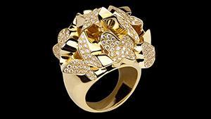Canturi Odyssey multi-shape ring with diamonds in 18ct yellow gold