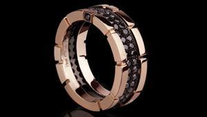 Canturi Regina 2 row black diamond ring in pink gold by Stefano Canturi
