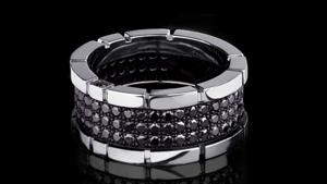 Canturi Regina 3 row black diamond ring in 18ct white gold by Stefano Canturi