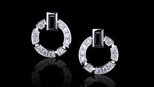 Regina single link diamond and Australian black sapphire earrings in 18ct white, pink or yellow gold.