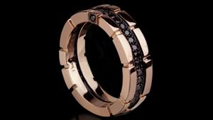 Canturi Regina single row black diamond ring in pink gold by Stefano Canturi