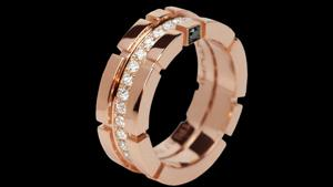 Canturi Regina single row diamond ring in 18ct pink gold.