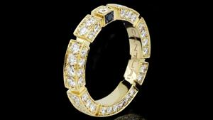 Canturi Regina full diamond set wedding band with Australian black sapphire detail in 18ct yellow gold, also available in white or pink gold