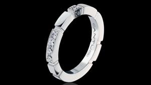 Canturi Regina alternate diamond set wedding band with Australian black sapphire detail in 18ct white gold, also available in yellow or pink gold