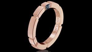 Canturi Regina wedding band in 18ct pink gold with Australian black sapphire detail in. Also available in white or yellow gold.