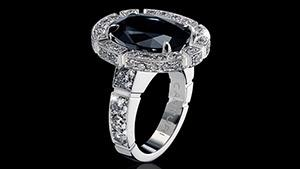 Canturi Regina Australian black sapphire and diamond ring available in 18ct white, yellow or pink gold.