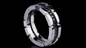 Canturi Regina single row black diamond ring in 18ct white gold by Stefano Canturi