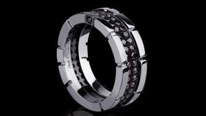 Canturi Regina 2 row black diamond ring in 18ct white gold by Stefano Canturi
