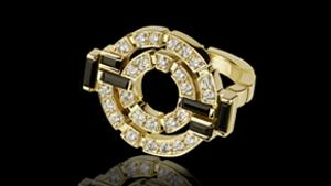 Canturi Regina double link diamond and Australian black sapphire ring in 18ct yellow gold, also available in white or pink gold